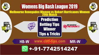 Who will win Today WBBL 2019, 29th Match MRW vs HBW 29th, WBBL T20 2019