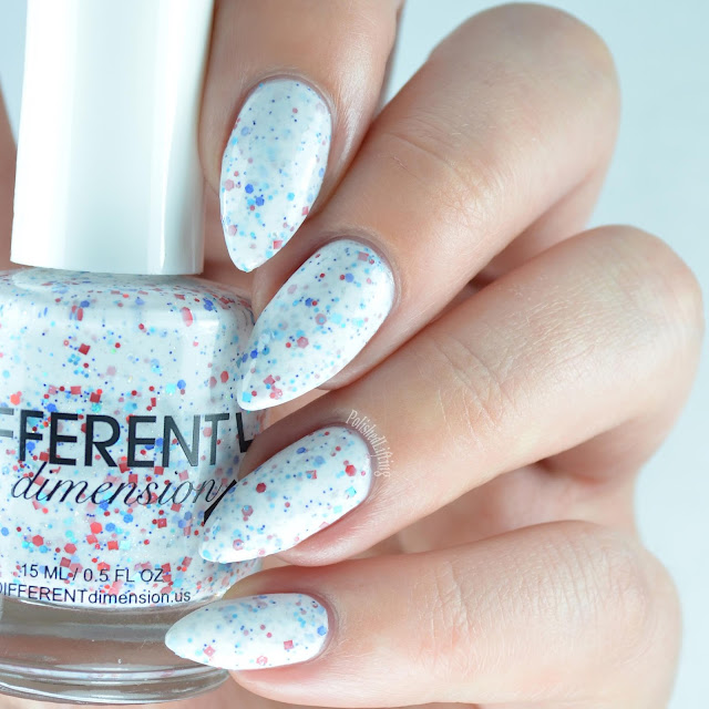 white nail polish with red white blue glitter