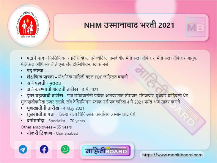 NHM Osmanabad Bharti 2021