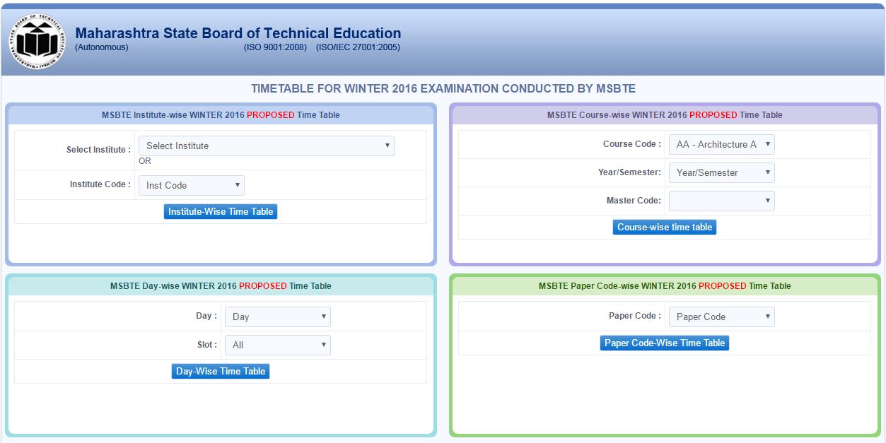 Winter Semester 2016 - Check MSBTE 2016 Winter Semester Time Table