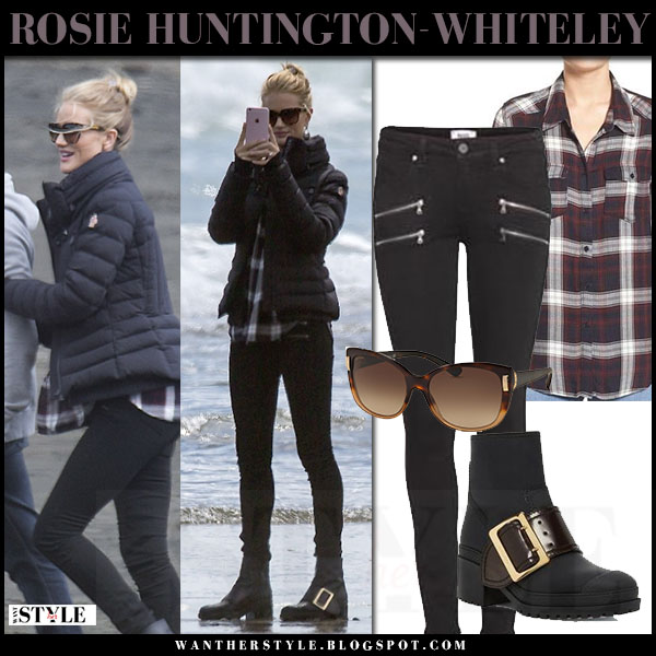 Rosie Huntington-Whiteley in navy moncler jacket, skinny jeans paige denim and black buckle boots burberry whichester what she wore