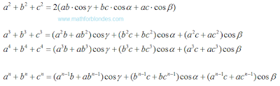 Law of cosines in general. Mathematics For Blondes.