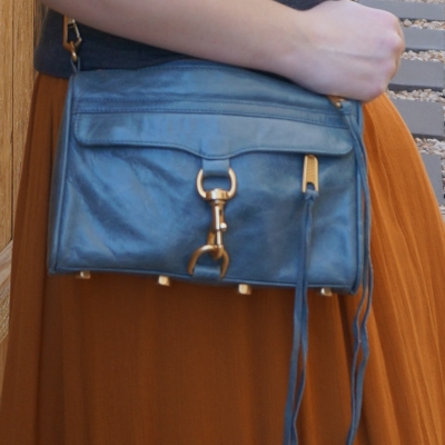 awayfromtheblue rebecca minkoff sky grey blue mini mac bag with ochre amber maxi skirt