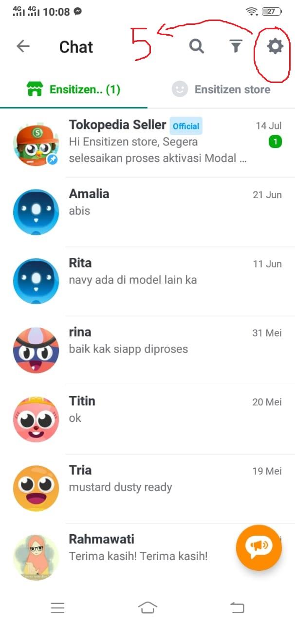 Pengaturan Chat di Tokopedia
