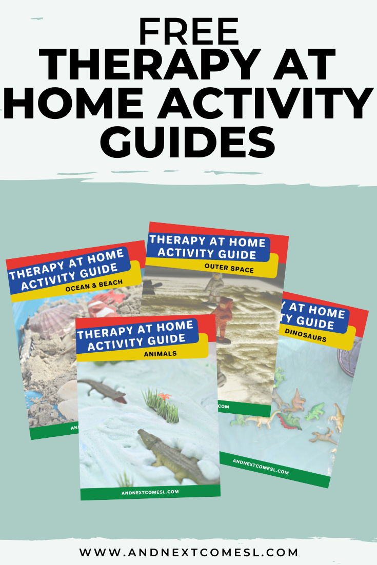 Free therapy at home activity guides filled with speech and OT activities, sensory play ideas, social skills ideas, and lots of printables!