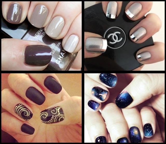 nail art marrom. nail art prateada; nail art preta fosca; nail art universo