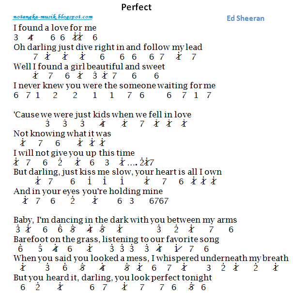 Not Angka Pianika Lagu Perfect Ed Sheeran
