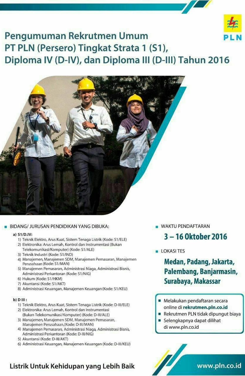 Lowongan PT PLN Persero Tingkat S1/D-IV/DIII 2016