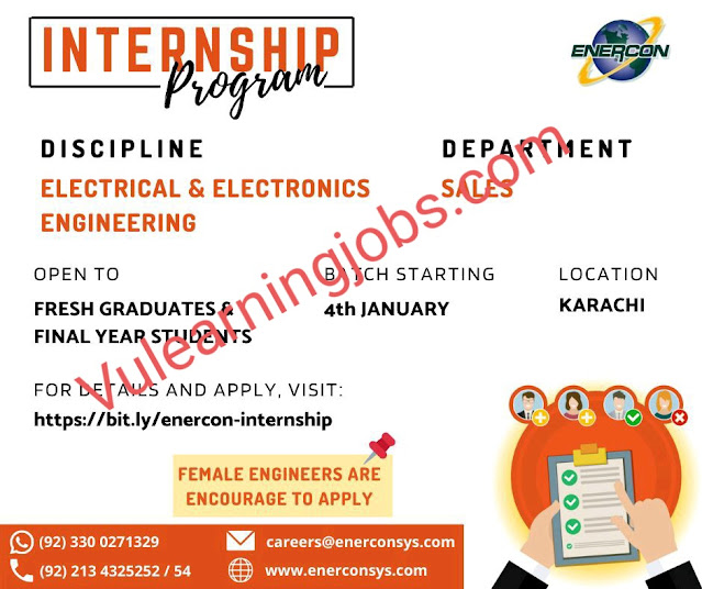 Enercon Systems International Pvt Ltd Internshps 2020 In Pakistan For Electrical & Electronics Engineer Latest