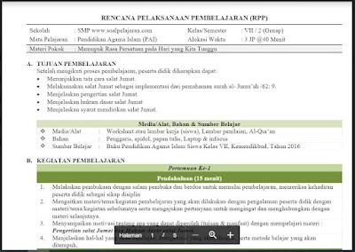 Download RPP Pendidikan Agama dan Budi Pekerti Kelas 7 Semester 2