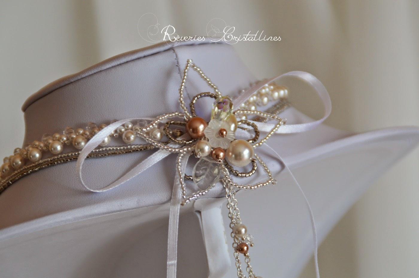 bijou mariée avec cascade de perles et cristaux
