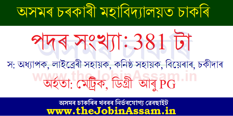 Assam Government College Recruitment 2020: Apply for 381 Teaching & Non-Teaching Posts