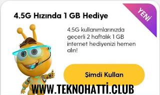 Turkcell 2 Haftalık 1GB Bedava İnternet Kampanyası - 2020