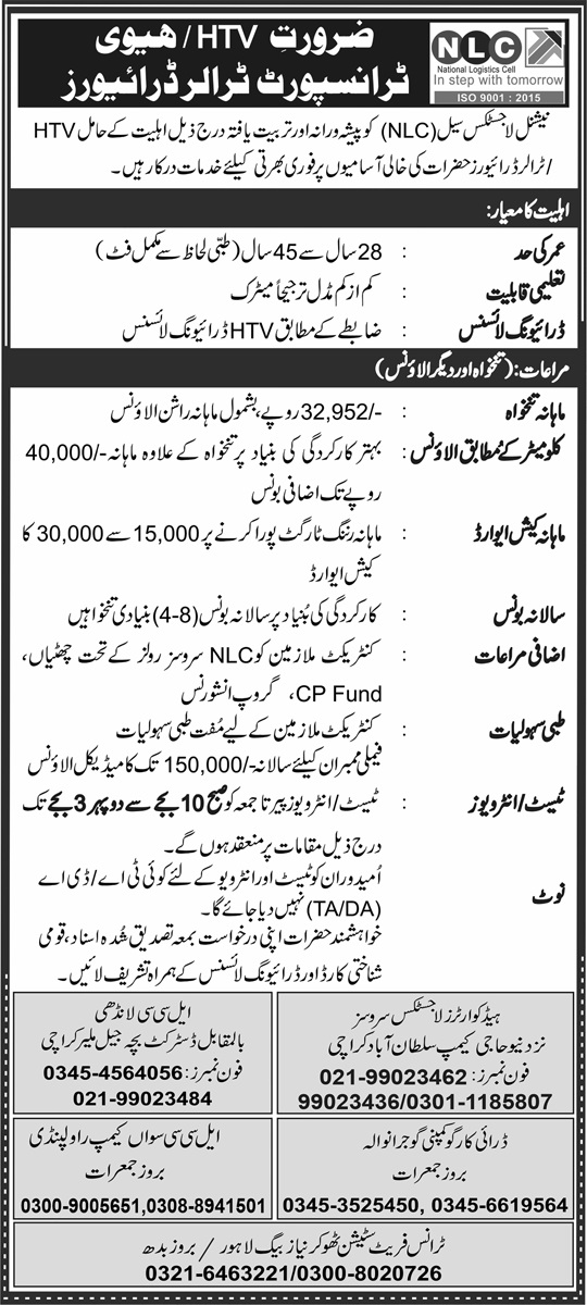Latest National Logistic Cell NLC Jobs June 2021