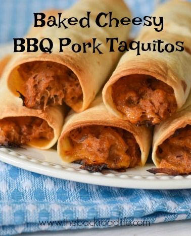 Baked Cheesy BBQ Pork Taquitos pin