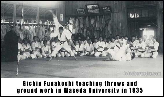 Traditional taekwondo ramblings taekwondo and jointlocks a above you can see a picture taken from one of gichin funakoshis classes in 1935 to the far left in dark clothing you will see gichin funakoshi himself fandeluxe Choice Image