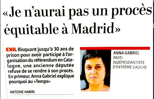 Espagne. Un mandat d'arrêt contre une indépendantiste catalane partie en Suisse