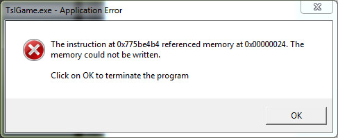 Pubg Instruction At Referenced Memory