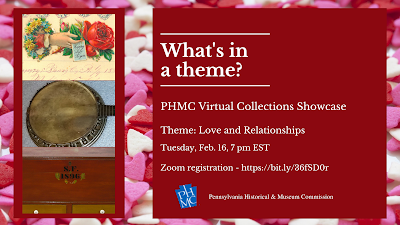 "Background is pink and white hearts with red squares for images and white text. Title of graphic reads ""What's in a theme? PHMC Virtual Collections Showcase"""
