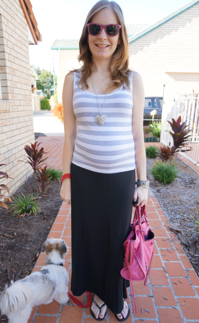 summer pregnancy outfit striped tank black maxi skirt pink balenciaga bag second trimester