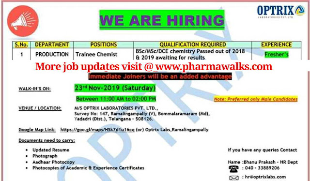 Optrix Laboratories walk-in interview for Freshers on 23rd Nov' 2019