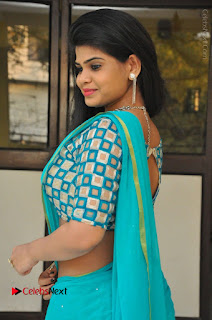 Telugu Actress Alekhya Stills in Green Saree at Swachh Hyderabad Cricket Press Meet  0068.JPG