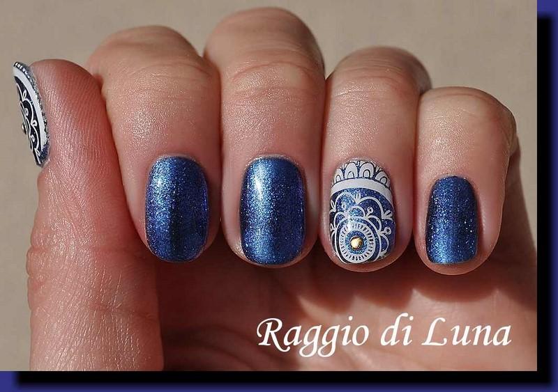 Raggio di Luna Nails: UV gel manicure with stamping - White floral ...