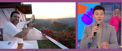 Geraldo Luis mostrando paisagem e Rodrigo Faro, no estúdio. Crédito: Divulgação/ Record TV