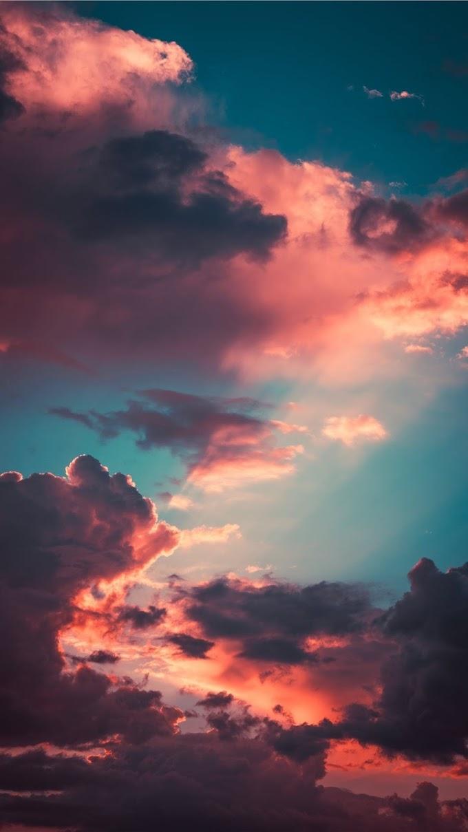 Papel de Parede Nuvem Pôr do Sol Rosa para Celular