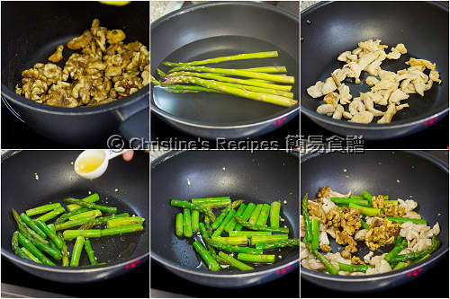 Stir Fried Asparagus with Walnut and Chicken Procedures