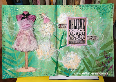paper dolls themed mixed media artwork by Jenny James using Tim Holtz and Dylusions art supplies