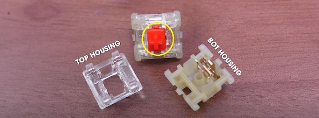 Các thành phần cấu tạo nên switch bấm của phím cơ
