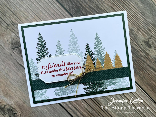 Christmas card using Stampin' Up!®'s Evergreen Elegance Bundle.  I also used the Tidings of Christmas designer series paper, Hippo & Friends Dies, Simply Elegant Trim, and the Gold & Rose Gold 6x6 Metallic Specialty Paper.  Video, supply list, and measurements on the blog.   Click the photo to go to the blog post!  #StampinUp #StampTherapist #EvergreenElegance