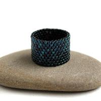 купить широкое женское кольцо темно-синего цвета интернет магазин бисерной бижутерии