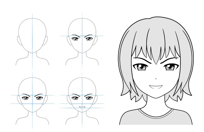 Sambil menyeringai gadis menggambar contoh anime