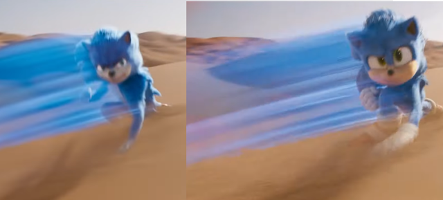 Sonic the Hedgehog movie design comparison before after side by side desert running fast