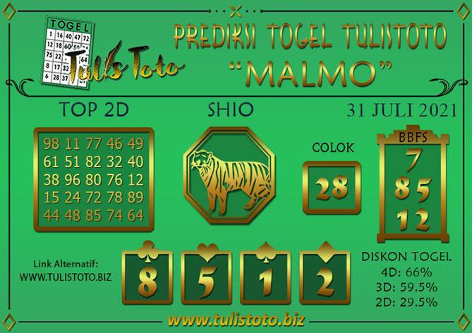 Prediksi Togel MALMO TULISTOTO 31 JULI 2021
