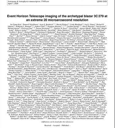 List of authors for EHT study of 3C279 (Source: J. Kim, et al, Astronomy and Astrophysics, April 7, 2020)