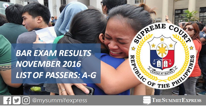 A-G List of Passers: 2016 Philippine Bar Exam Results