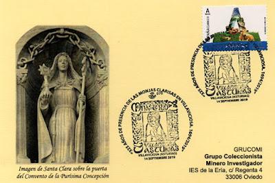 Tarjeta con el matasellos del 325 aniversario de las Clarisas en Villaviciosa, Asturias