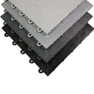Greatmats Garage Floor Tile Diamond Top grey and black