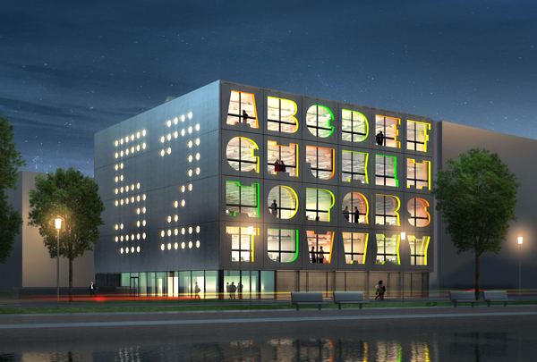 As part of a larger redevelopment of the port at Minervahaven in Amsterdam,  MVRDV designed this rainbow-colored Alphabet Building to serve as office space for creative companies. Firms looking for flexible and spacious offices to incubate their creative spirit can select office space behind a letter or even take a group of letters. To be built right on the edge of the harbor, the Alphabet Building enjoys views of the water and will be at the center of a new creative hub for the Dutch city. High efficiency standards and a simple palette of materials will characterize the office building when it is completed in 2012.