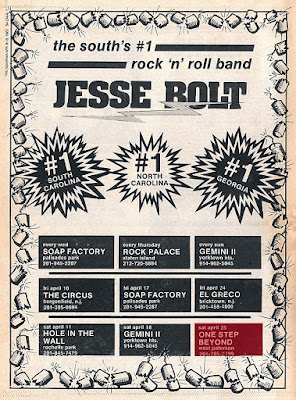 Jessie Bolt club line up from the April 15th, 1981 issue of The Aquarian
