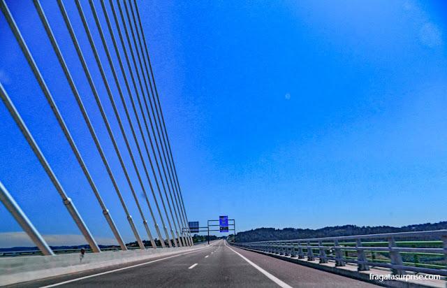 Ponte estaiada no caminho entre Amarante e Peso da Régua, Portugal