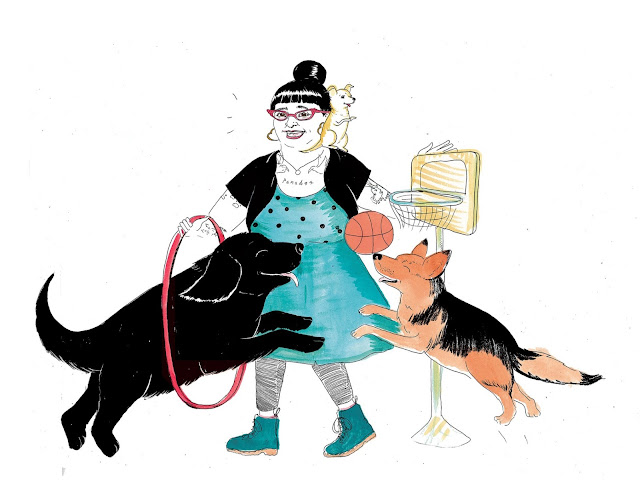Interview with Sassafras Lowrey about Chew This Journal. An illustration of Sassafras doing tricks with two dogs.