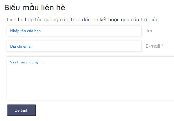 Code biểu mẫu liên hệ cho blogspot đã xóa javascript mặc định