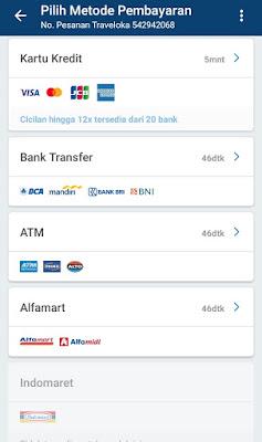 pilihan metode pembayaran yang ditawarkan Traveloka