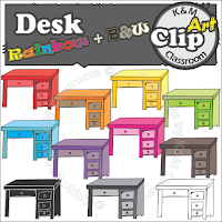 Desk Clip Arts in Rainbow Colors