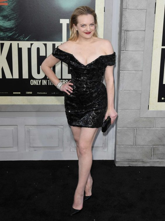 Elisabeth Moss wears low cut dress for The Kitchen premiere in LA