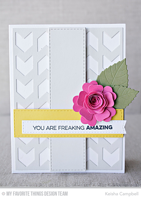 Freaking Amazing Card by Keisha Campbell featuring the Amazing stamp set and the Mini Hybrid Heirloom Rose, Layered Leaves, Chunky Chevron Cover-Up, Horizontal Stitched Strips, and Vertical Stitched Strips Die-namics #mftstamps